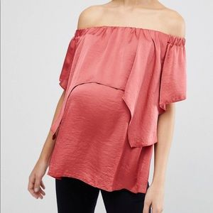 ASOS Maternity Satin Top with Double Layer
